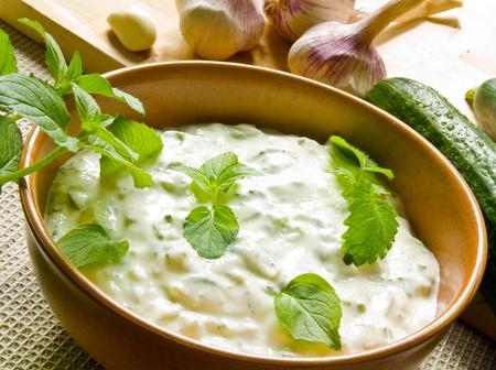 12418521 - bowl of tzatziki and fresh ingredients